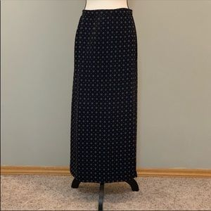 Talbots wrap skirt with ivory square pattern